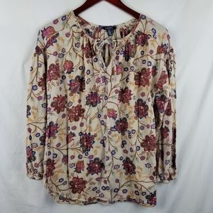 Chaps Med Peasant Blouse Floral Long Sleeve